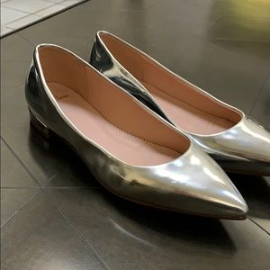 Jcrew leather silver flats. Brand new!